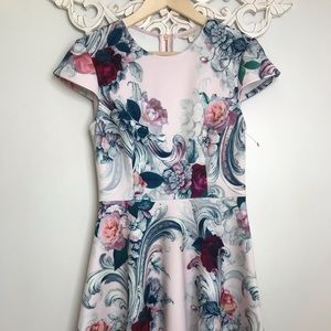 Ted Baker Floral Scuba dress Short Sleeve size 1